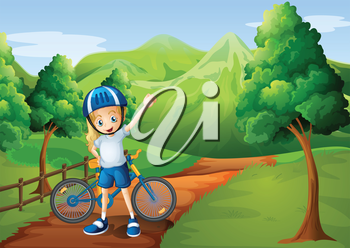 Illustration of a cute little girl and her bike at the pathway near the wooden fence