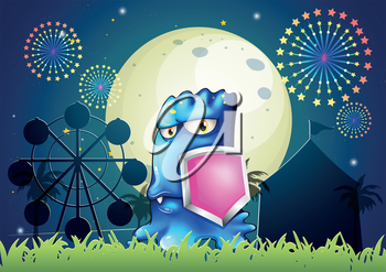 Illustration of a blue monster holding a pink shield