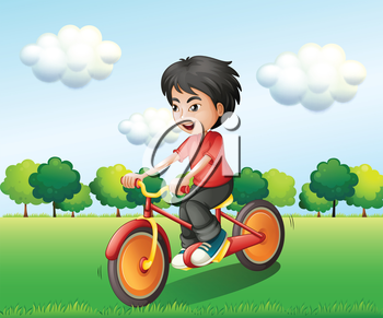 Illustration of a happy young man biking