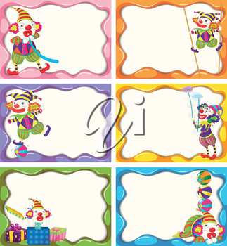 Label design with happy clowns illustration