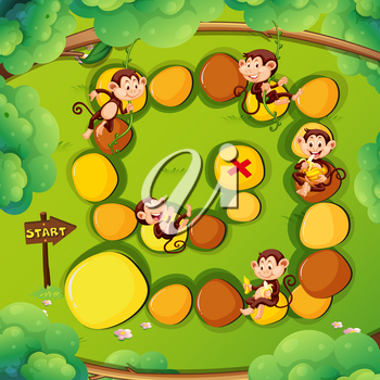 Game template with monkeys in the forest illustration