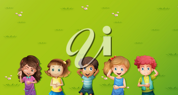 Background scene with kids on grass illustration