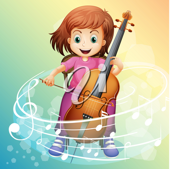 Girl playing cello on the chair illustration