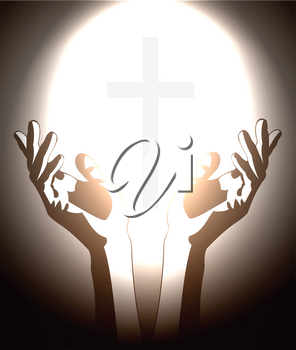 Royalty Free Clipart Image of a Person Holding a Cross