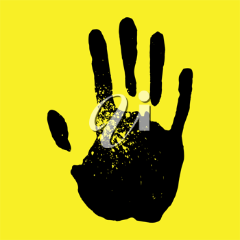 Handprint on a yellow background