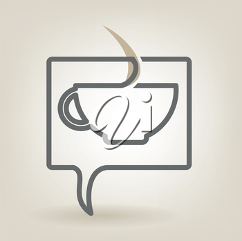 Speech bubble with coffee