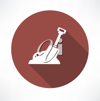 shovel in  construction sand icon