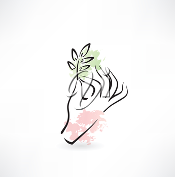 hand holding a plant icon