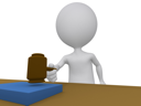Royalty Free Clipart Image of a Figure Using a Gavel
