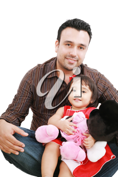 Father and daughter smiling - isolated over a white background