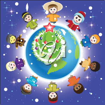 Royalty Free Clipart Image of Children Around the Globe at Christmas