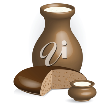 Royalty Free Clipart Image of a Pitcher of Milk and Bread
