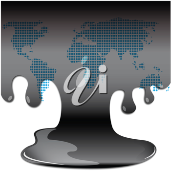 Royalty Free Clipart Image of Oil on a Map