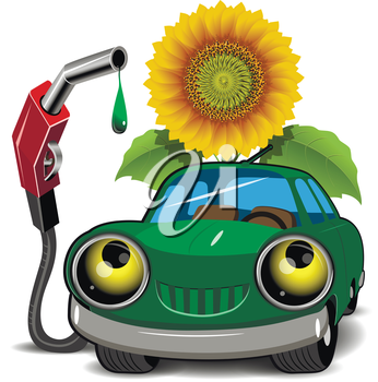 Illustration of a green car fueling and sunflower