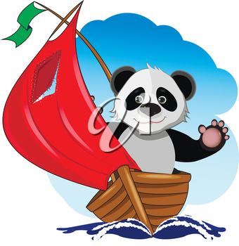 Illustration of a cute Panda in the boat