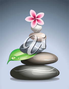 Royalty Free Clipart Image of Piled Pebbles with a Lotus Flower on Top
