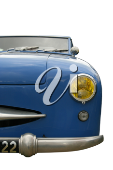 Vintage blue car, face view, isolated on white with clipping path