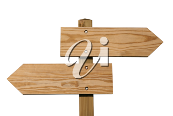 Wooden direction sign isolated on white, clipping path included