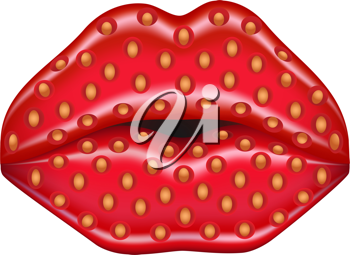 Royalty Free Clipart Image of Strawberry Lips