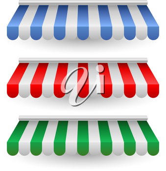 Striped street shop tent vector template isolated on white background.