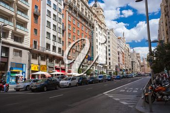 Main street of Madrid - Gran Via, Spain