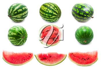 Collection of fresh juicy watermelons isolated on white background