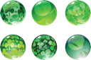 Royalty Free Clipart Image of Green Clover Balls