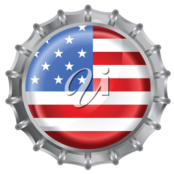 Royalty Free Clipart Image of an American Flag Bottle Cap