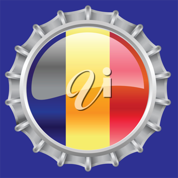 Royalty Free Clipart Image of a Romanian Flag Bottlecap