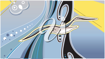 Royalty Free Clipart Image of an Abstract Seagull Background