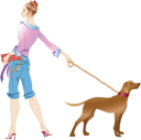 Royalty Free Clipart Image of a Woman Walking a Dog