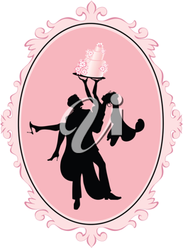 Royalty Free Clipart Image of a Bride and a Groom