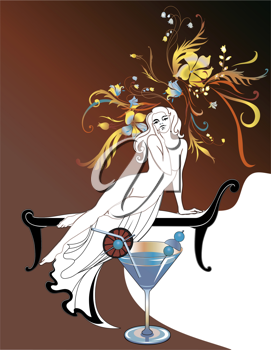 Royalty Free Clipart Image of a Woman With a Cocktail