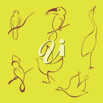 Royalty Free Clipart Image of Bird Drawings