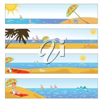 Royalty Free Clipart Image of Beach Banners