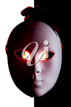Scary black and white mask with red eyes on BW background