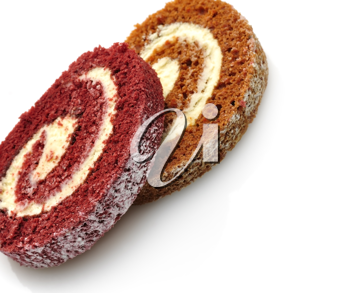 Royalty Free Photo of a Pumpkin and Strawberry Roll Cake Slices