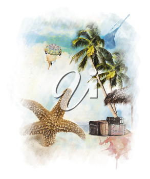 Watercolor Digital Painting Of  Vacation Theme