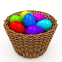 Royalty Free Clipart Image of a Basket of Colorful Eggs
