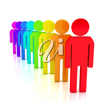 Royalty Free Clipart Image of Colourful People