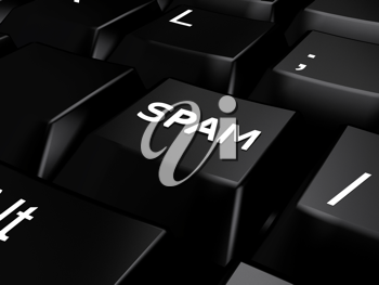 Royalty Free Clipart Image of a Spam Button on a Keyboard