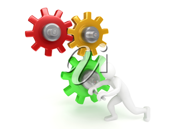 Royalty Free Clipart Image of a Person With Gears