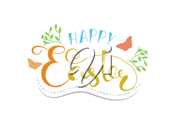 Hand sketched Happy Easter text as Easter logotype, banner and card template. Hand drawn text for postcard, invitation, poster. Happy Easter lettering typography. Seasons Greetings