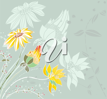 Royalty Free Clipart Image of a Green Background With Flowers in the Corner