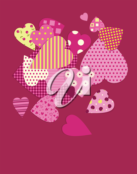 Heart of the patterns - valentine day background.EPS10. Contains transparent objects used for shadows drawing.