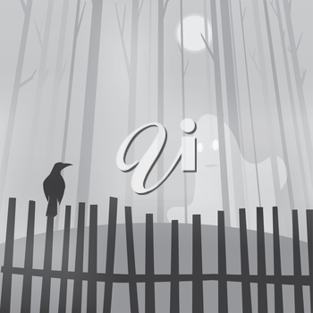 Halloween background with ravens on fence and ghost