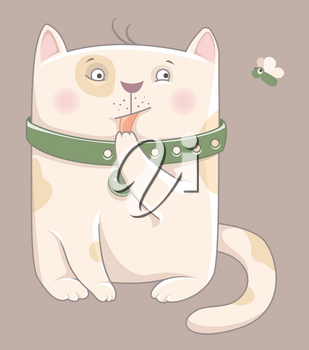 Cartoon cat - funny vector illustration for cartoon print. T-shirt graphics for kids.