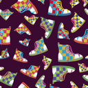 Royalty Free Clipart Image of a Sneakers Background