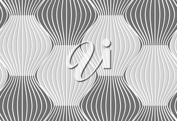 Seamless geometric background. Modern monochrome 3D texture. Pattern with realistic shadow and cut out of paper effect.3D shades of gray vertical striped waves.