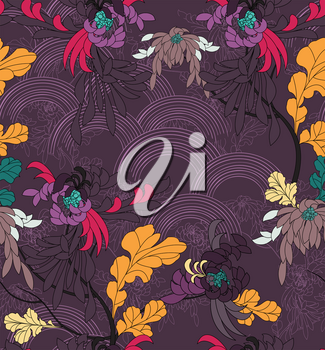 Aster flower with yellow leaves on purple arcs.Hand drawn with ink seamless background.Creative hand made brushed design.Flower pattern Japanese motives.Repainting vintage background for fashion fabri